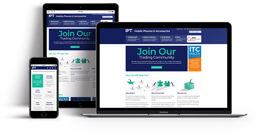 Screenshots showing the IPT homepage on multiple devices
