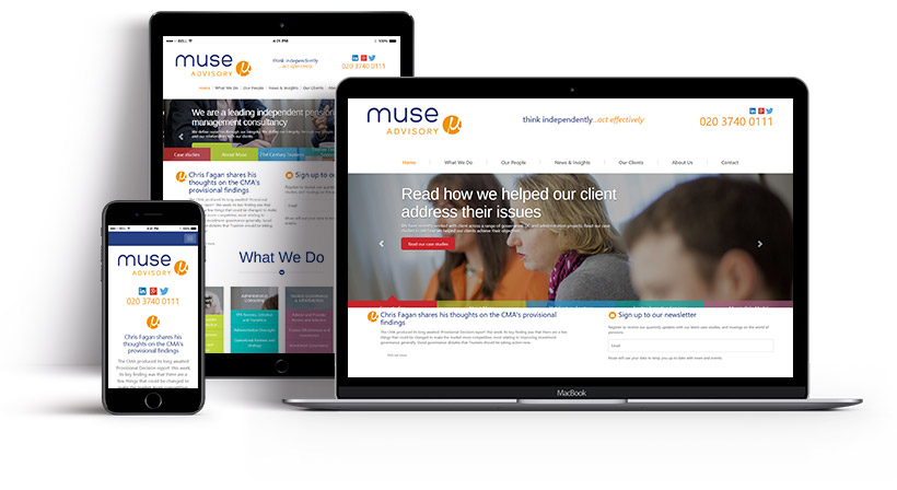 Screenshots showing the Muse Advisory homepage on multiple devices