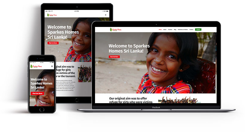 Screenshots showing the Sparkes Home Sri Lanka homepage on multiple devices